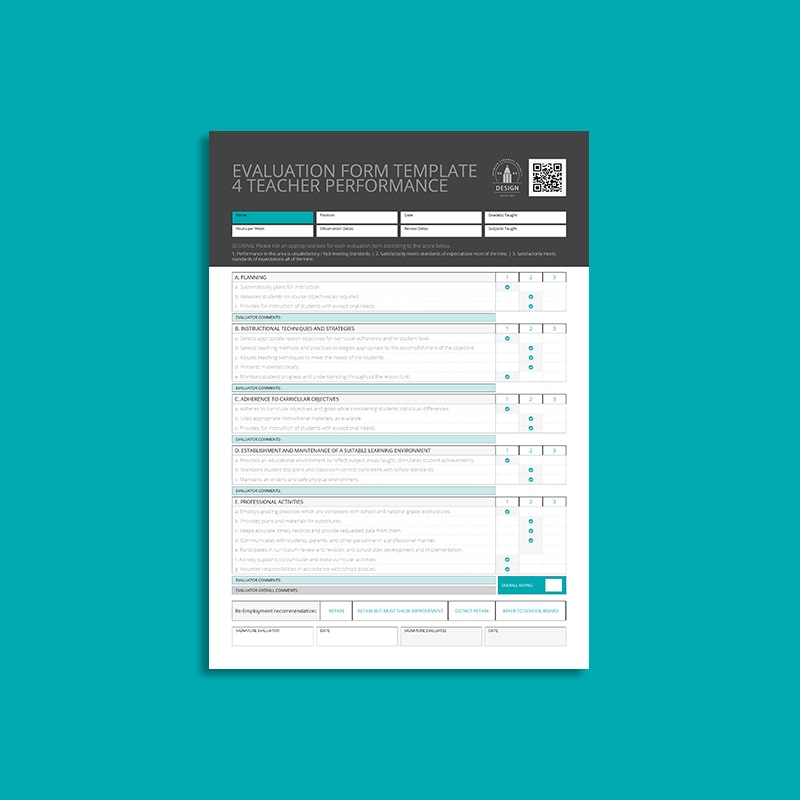 Evaluation form Template 4 Teacher Performance
