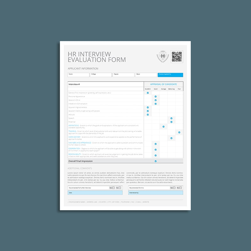 HR Interview Evaluation Form US Letter