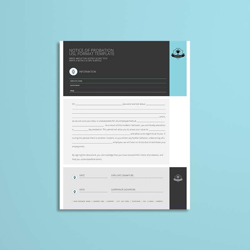 Notice of Probation USL Format Template