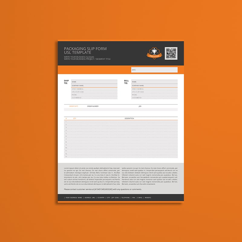 Packaging Slip Form USL Template