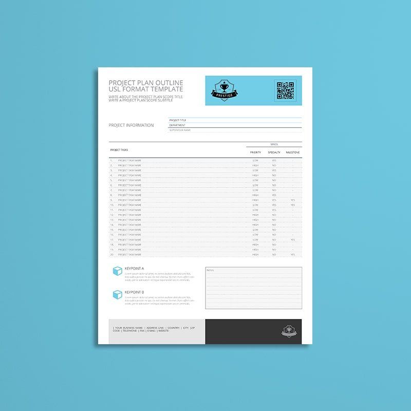 Project Plan Outline USL Format Template