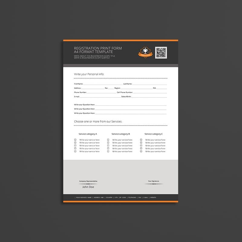 Registration Print Form A4 Format Template
