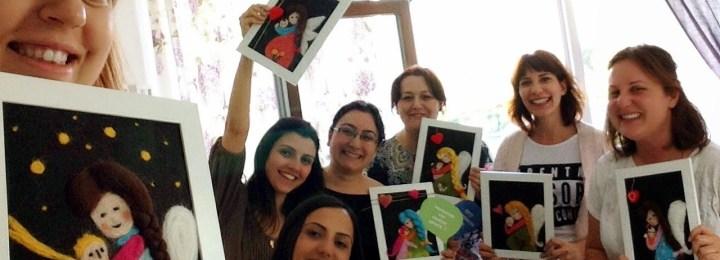 Mayıs 2014 Keçe İğneleme İstanbul Workshop – Angel Mommy Tablosu