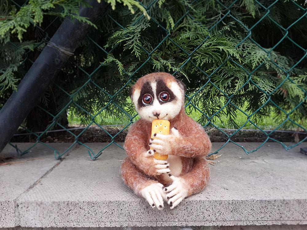 lemur bobo - keçe iğneleme figür