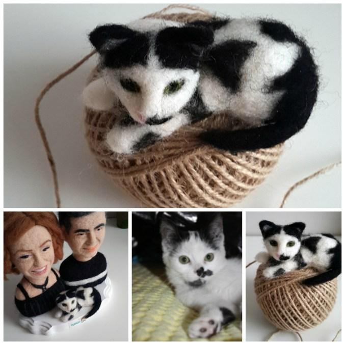 keçe iğneleme kedi figür