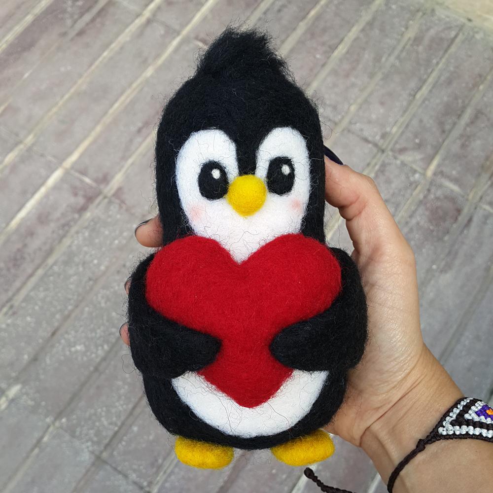 keçe iğneleme yün figür penguen