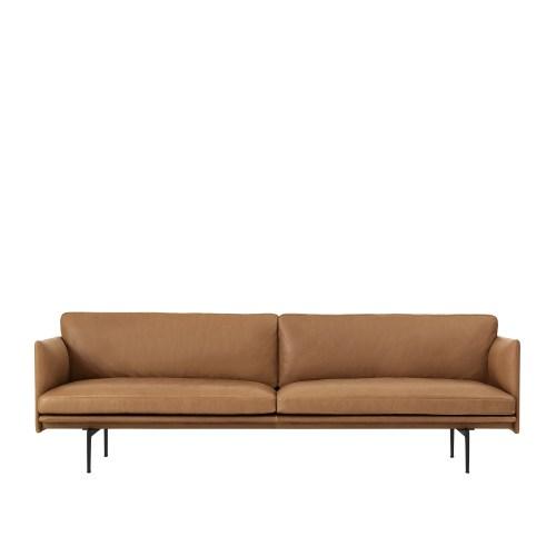 Muuto Outline Sofa 3 seater Refine Leather Cognac - Black Base