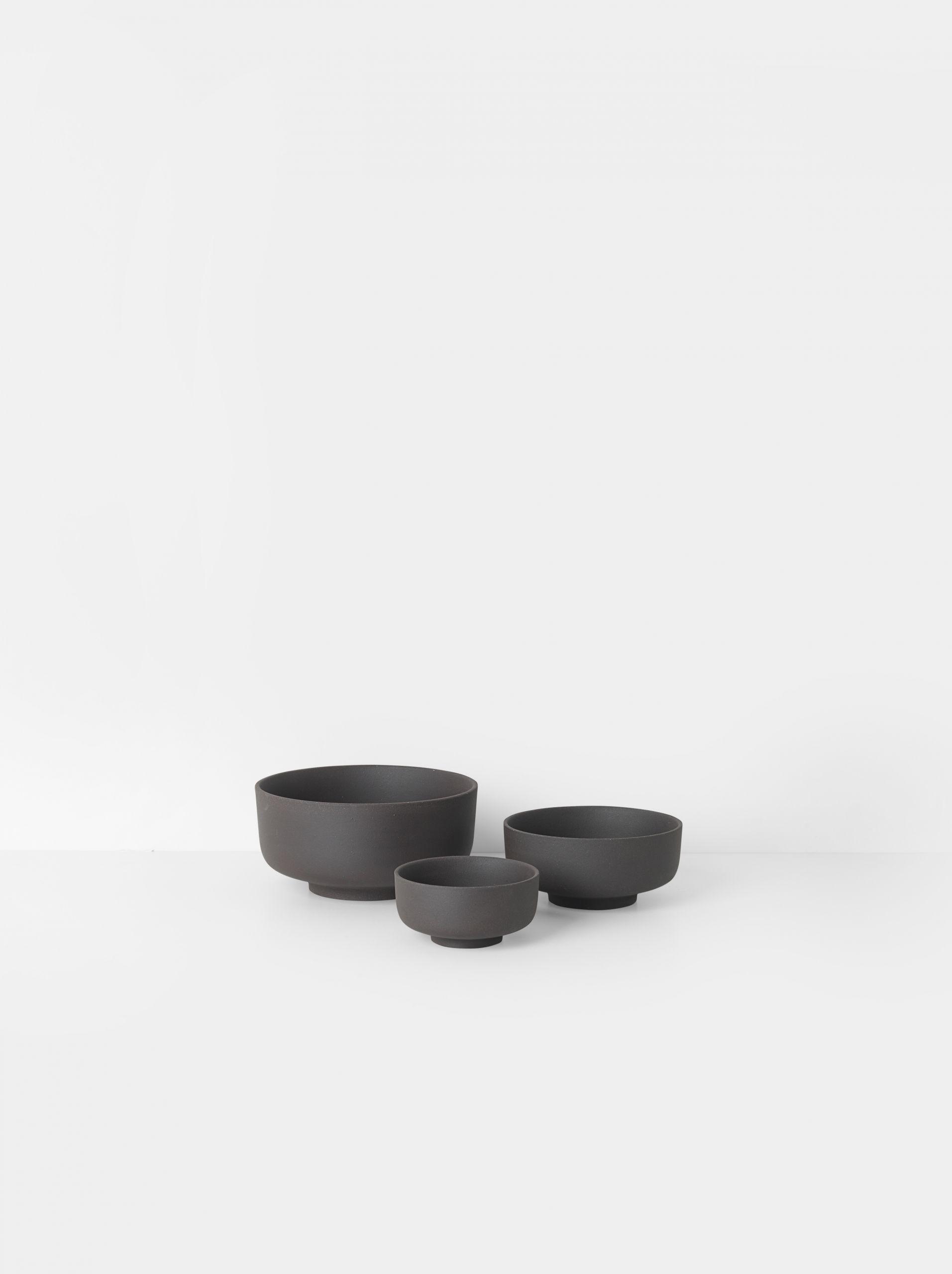Sekki bowls charcoal set of 3