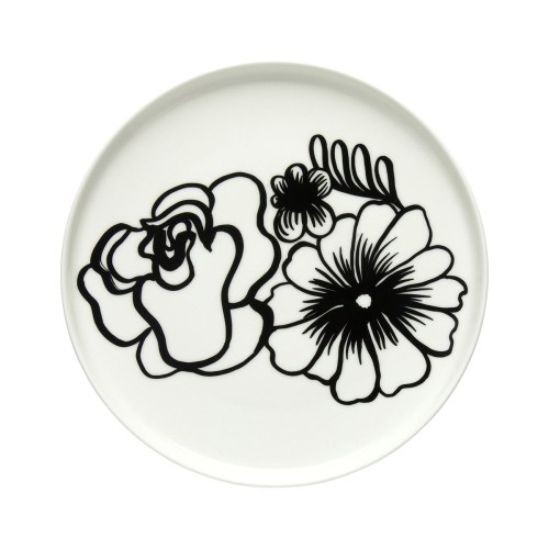 Eläköön elämä plate 20cm white-black