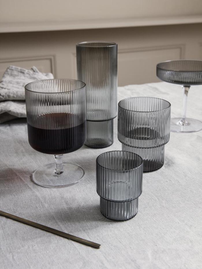 Ripple long drink glass set 4 smoked grey