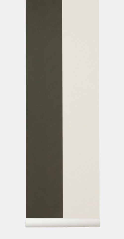 Ferm Living Behang Thick Lines Green/Off-white