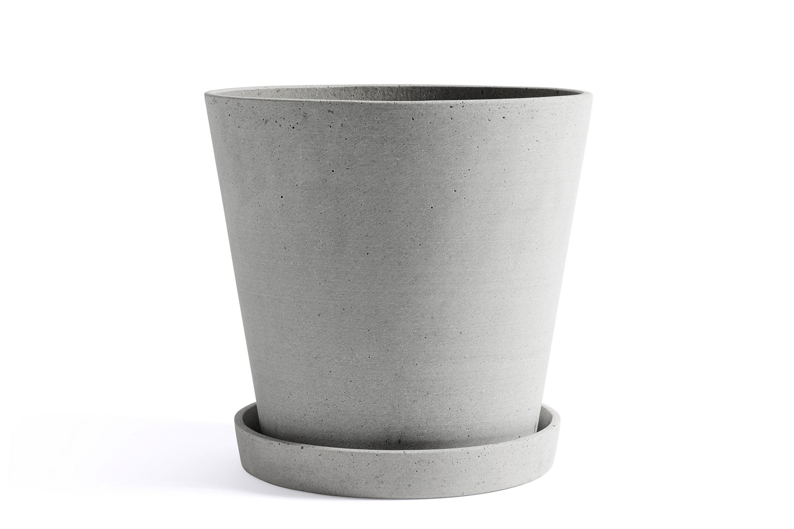 Flowerpot with saucer XXL grey