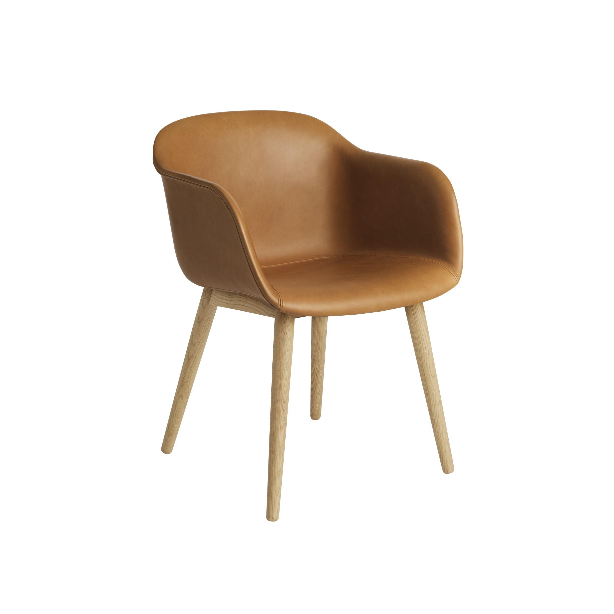 Muuto Fiber Armchair Wood Base Refine Leather Cognac/Oak