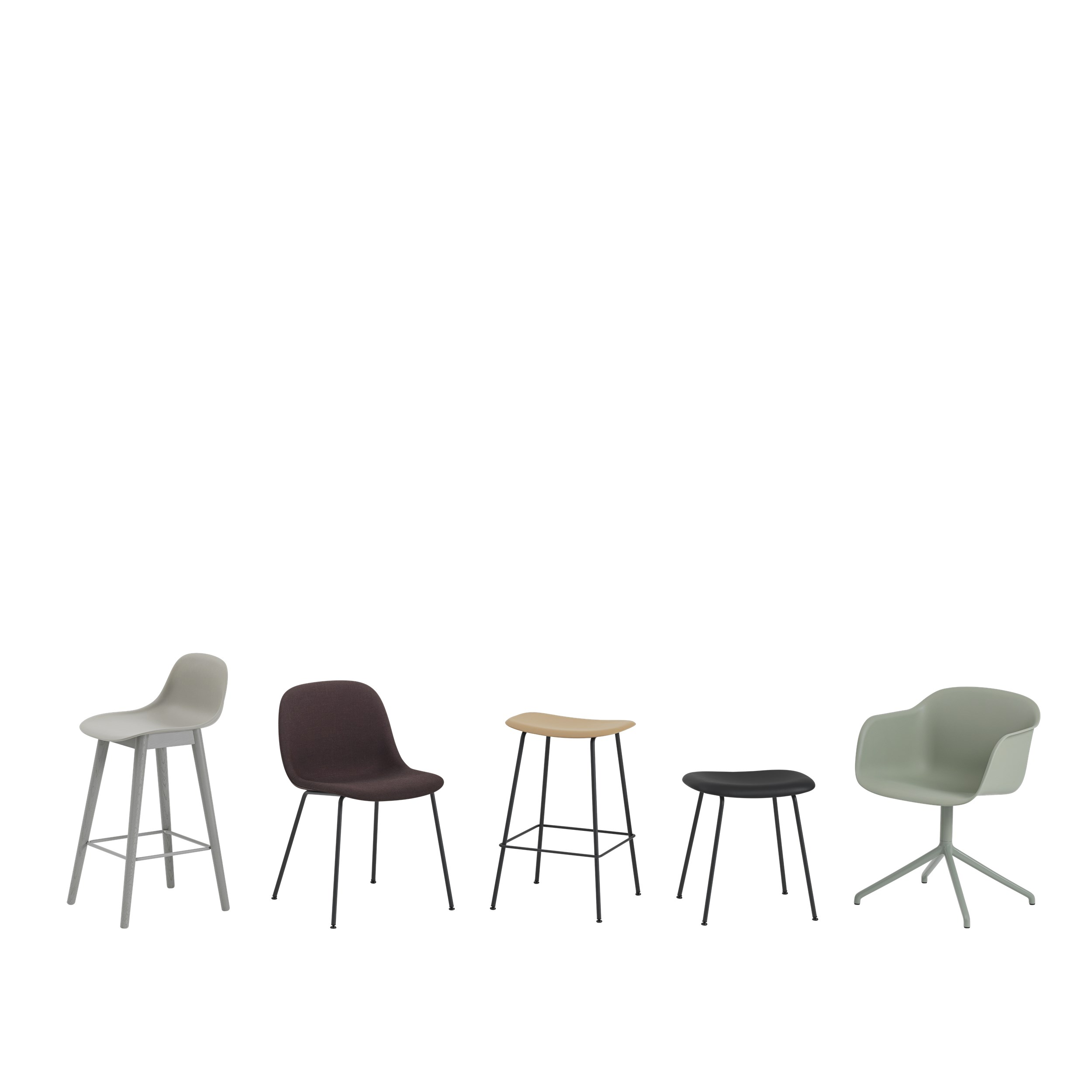 Muuto Fiber Side Chair Wood Base Grey/Grey