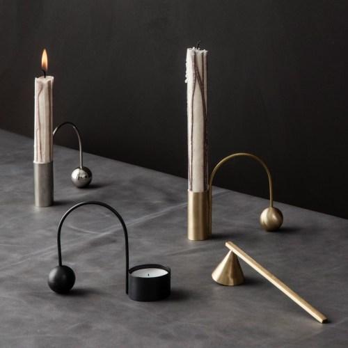 Ferm Living Balance Tealight Holder Black Brass