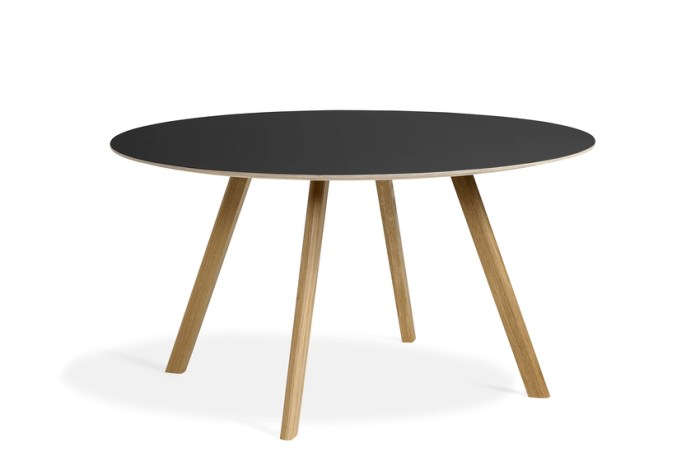 Hay CPH25 Table Round 140 Black Linoleum/Clear