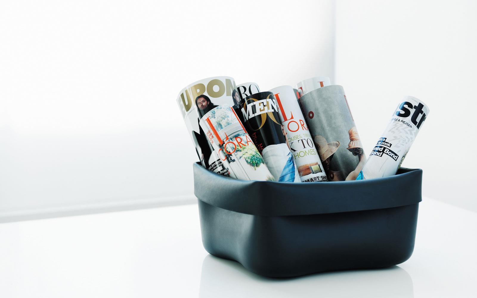 Washing-up bowl & brush black