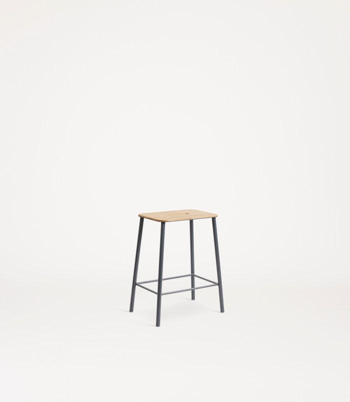 Frama Adam Stool H50 Oak/Grey