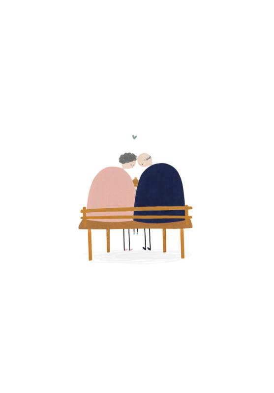 Gevouwen kaart - Echtpaar op bankje
