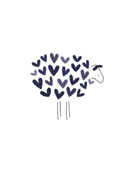 Gevouwen kaart - Schaap met blauwe hartjes