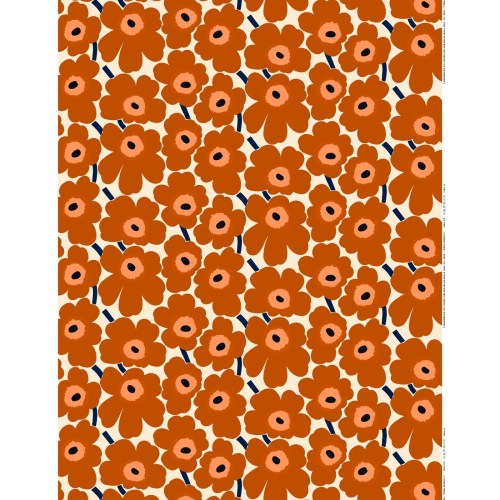 Marimekko Pieni Unikko Akrylic Fabric Brown Orange