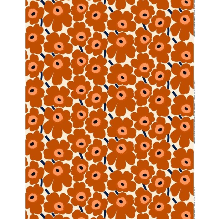 Marimekko Pieni Unikko Akrylic Fabric Brown Orange
