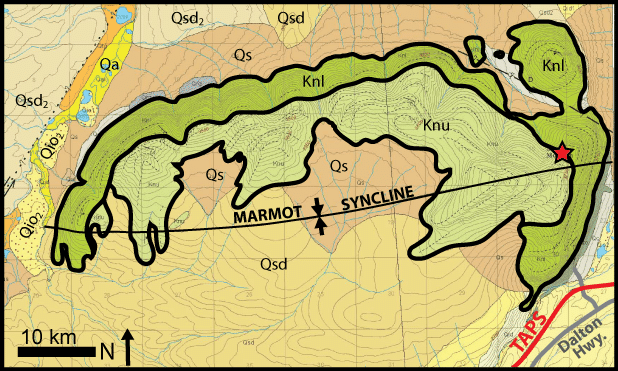 Figure 2.  Geologic map of Slope Mountain, also known as Marmot Syncline.  The Nanushuk Formation (Knl and Knu) consists of alluvial, deltaic, and shallow marine facies deposited during the Albian-Cenomanian ages of the Cretaceous.  The Dalton Highway and Trans Alaska Pipeline System (TAPS) run just to the east of Slope Mountain.