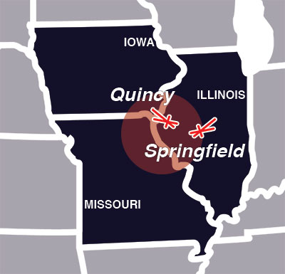 Keck Plumbing Service Area - Quincy, IL and Springfield, IL