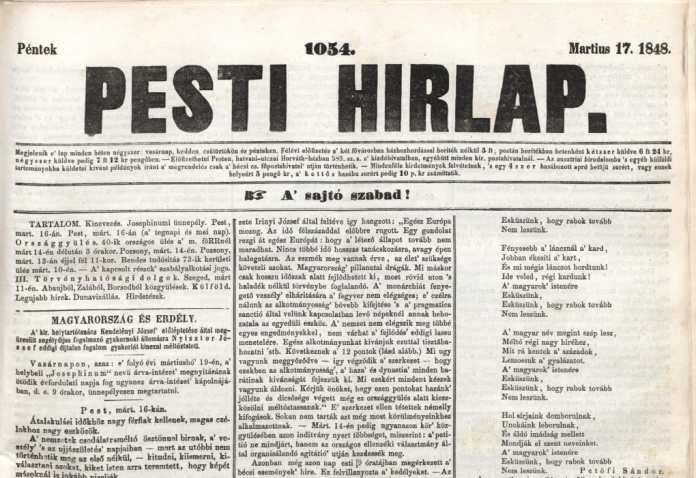 Az 1848. március 17-én megjelent Pesti Hírlap címlapja