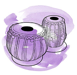 Drawing of tabla with purple swirl