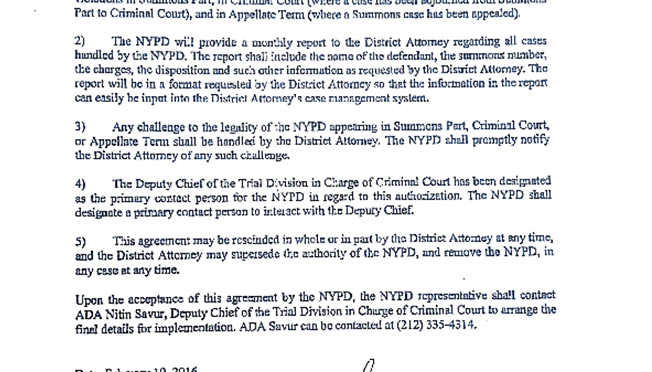 Memorandum Giving NYPD Prosecutorial Power
