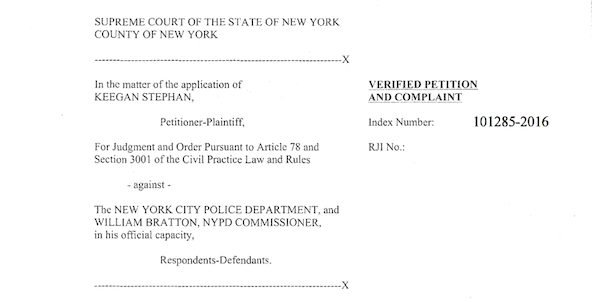 Keegan Stephan v. New York City Police Department, et al.