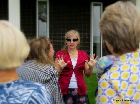 Keeler Gardens volunteers visit with garden clubs.