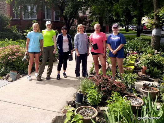 Five high school interns from across Chicago stand on the sidewalk in front of Keeler Gardens with Gina, the gardens' lead horticulturalist, posing for a picture to commemorate their first day at work. On their left in the foreground and background is the educational pollinator habitat, with many of the native plants and bulbs in pots on the soil, not yet planted in the ground. Behind them to the left is part of Keeler Gardens' front garden.