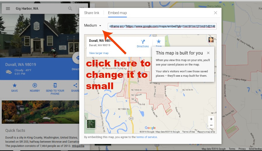google maps medium to small