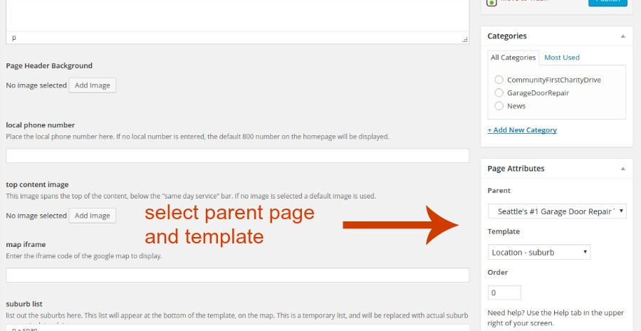 parent page and template