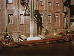 Unloading grain at Yarborough Mills, Brigg in the late 1960's - Amy Howson photographed from the adjacent road bridge