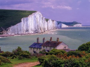 Seven Sisters Cliff with the sea and sky