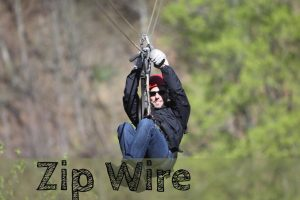person doing zip wire