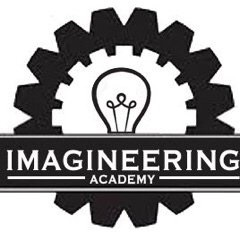 Imagineering club poster with lightbulb and gears