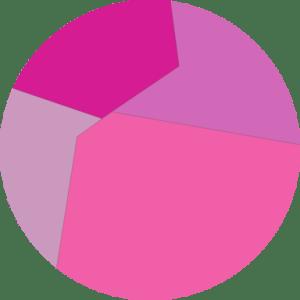 4 shades of pink in circle