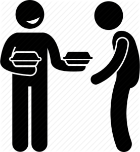 person giving another person a box