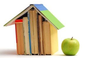House made of books and apple