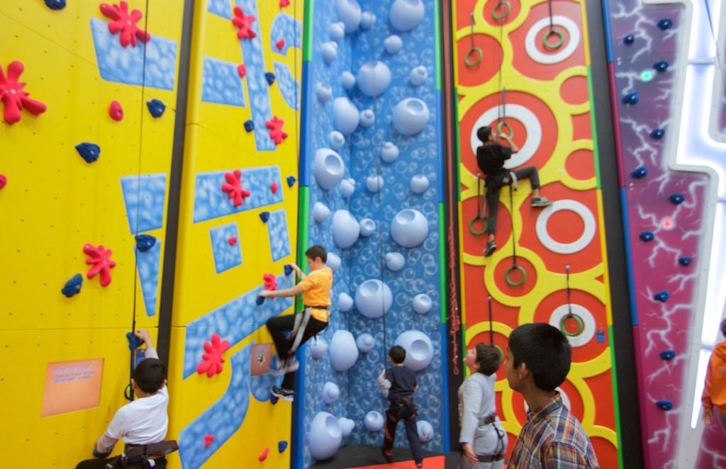 Boys climbing on the walls