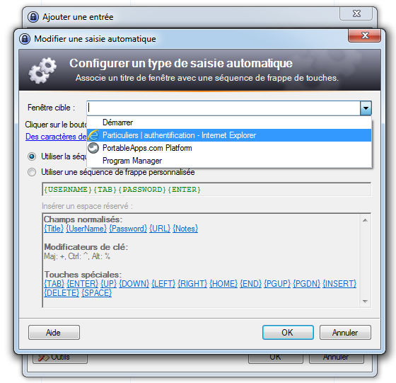 keepass saisie automatique