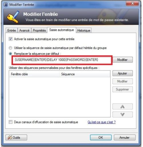 keepass modification d'entrée