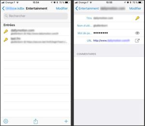 interface de keepass mobile