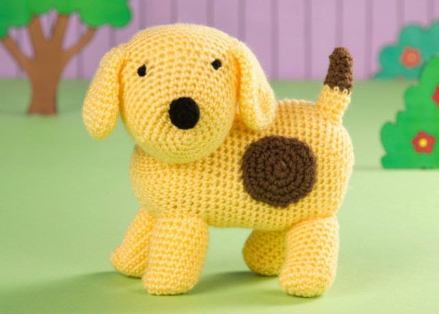 Crochet Spot the Dog Amigurumi in a cute book scene in Issue 41 of Crochet Now by Heather C Gibbs