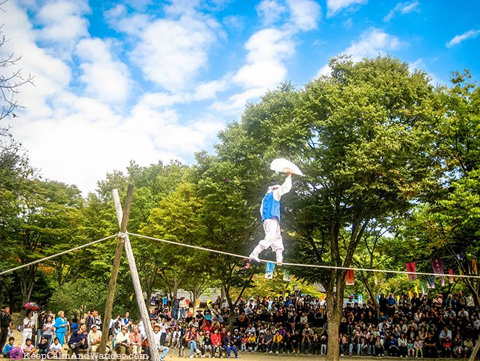 The Acrobatic Show at Korean Folk Village in Suwon, Seoul, South Korea.
