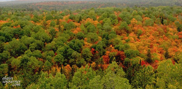 At the Lookout Trail in Algonquin Park, there's a great fall colours that await hikers and visitors.